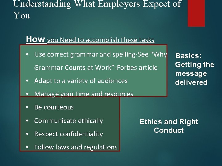 Understanding What Employers Expect of You How you Need to accomplish these tasks •