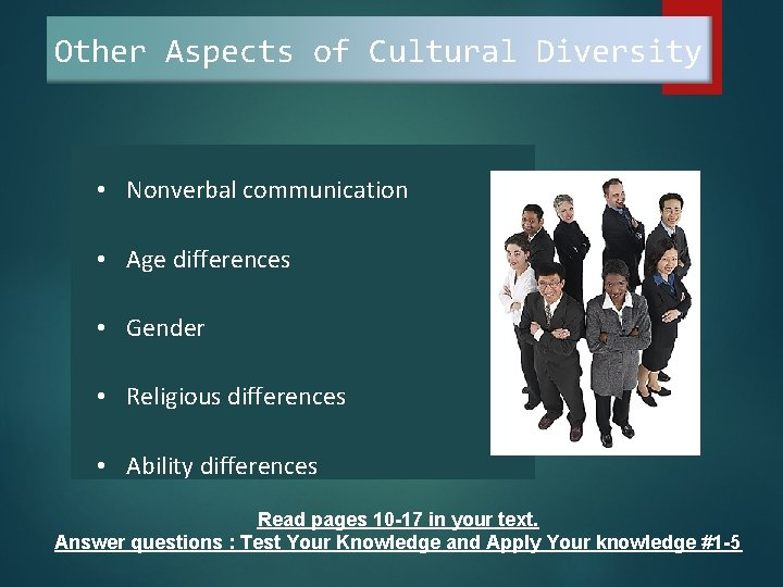 Other Aspects of Cultural Diversity • Nonverbal communication • Age differences • Gender •