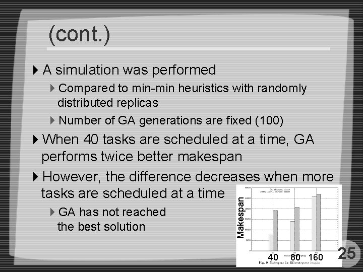 (cont. ) 4 A simulation was performed 4 Compared to min-min heuristics with randomly