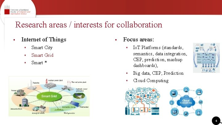 Research areas / interests for collaboration § Internet of Things § Smart City §