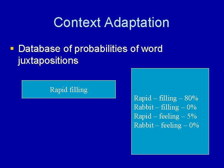 Context Adaptation § Database of probabilities of word juxtapositions Rapid filling Rapid – filling