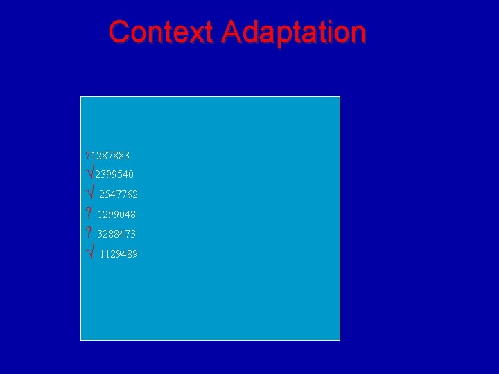 Context Adaptation ? 1287883 √ 2399540 √ 2547762 ? 1299048 ? 3288473 √ 1129489