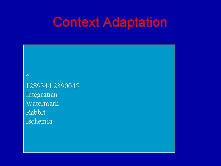 Context Adaptation. ? 1289344, 2390045 Integratian Watermark Rabbit Ischemia