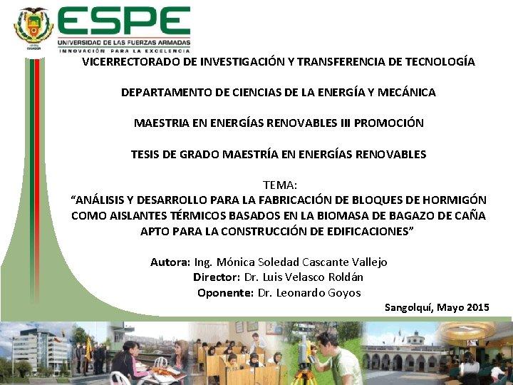 VICERRECTORADO DE INVESTIGACIÓN Y TRANSFERENCIA DE TECNOLOGÍA DEPARTAMENTO DE CIENCIAS DE LA ENERGÍA Y