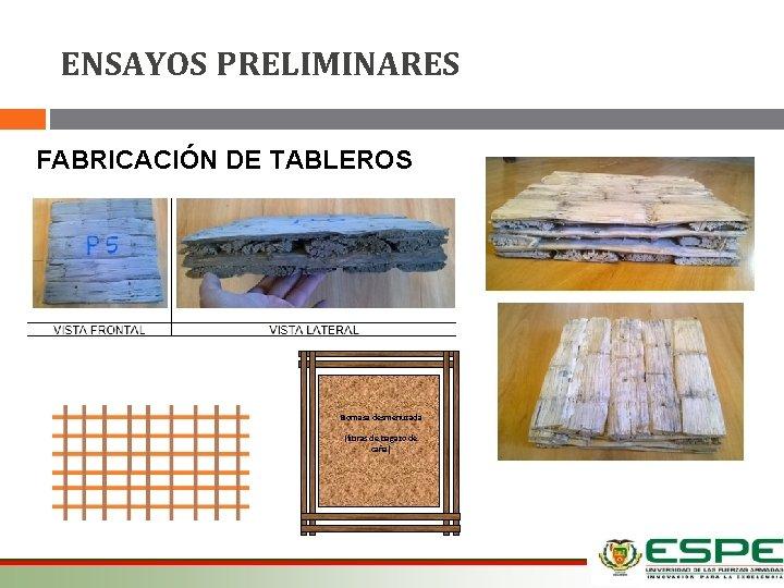 ENSAYOS PRELIMINARES FABRICACIÓN DE TABLEROS Biomasa desmenuzada (fibras de bagazo de caña) 12/03/2021