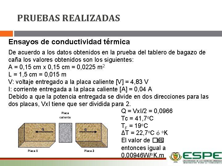PRUEBAS REALIZADAS Ensayos de conductividad térmica De acuerdo a los datos obtenidos en la