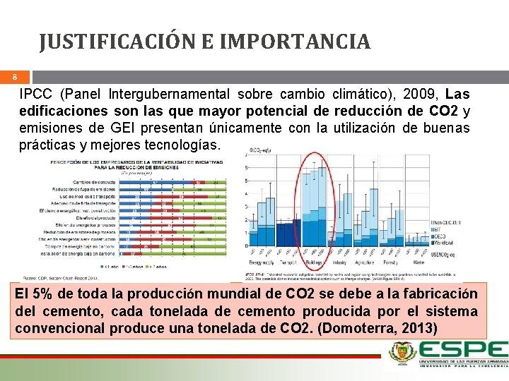 JUSTIFICACIÓN E IMPORTANCIA 8 IPCC (Panel Intergubernamental sobre cambio climático), 2009, Las edificaciones son