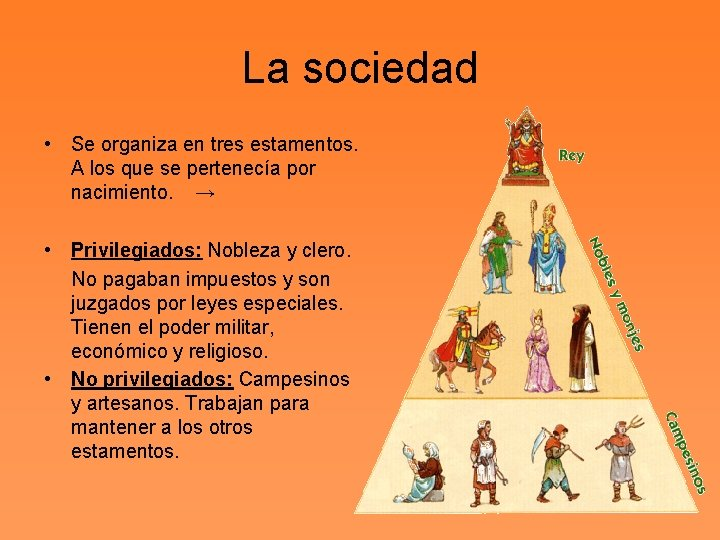 La sociedad • Se organiza en tres estamentos. A los que se pertenecía por