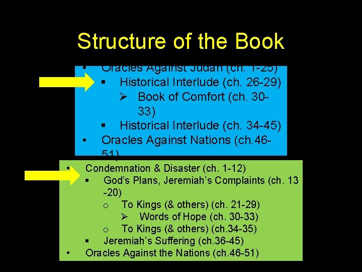 Structure of the Book • • Oracles Against Judah (ch. 1 -25) § Historical