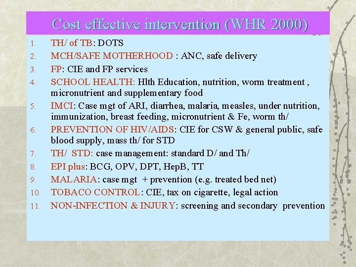 Cost effective intervention (WHR 2000) 1. 2. 3. 4. 5. 6. 7. 8. 9.