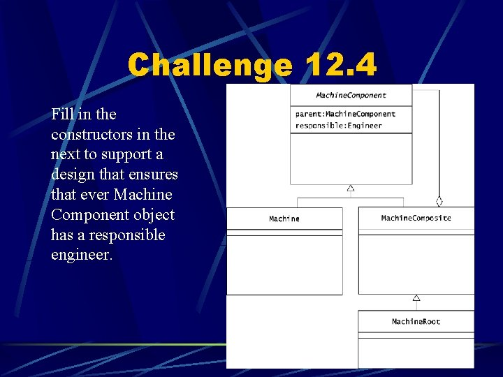 Challenge 12. 4 Fill in the constructors in the next to support a design