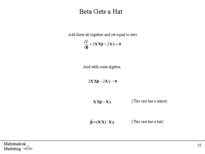 Beta Gets a Hat Add these all together and set equal to zero And
