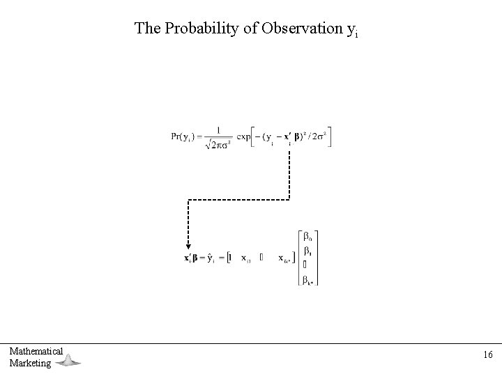 The Probability of Observation yi Mathematical Marketing 16