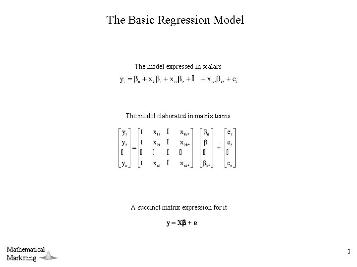The Basic Regression Model The model expressed in scalars The model elaborated in matrix