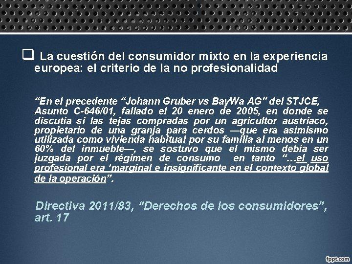 q La cuestión del consumidor mixto en la experiencia europea: el criterio de la