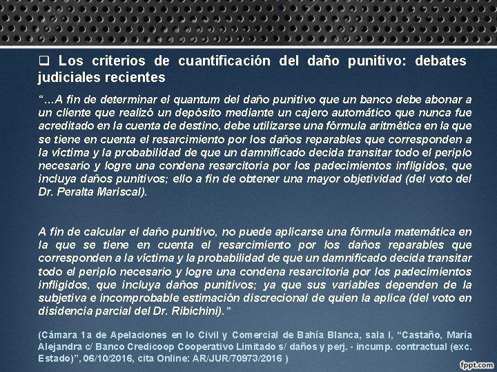 """q Los criterios de cuantificación del daño punitivo: debates judiciales recientes """"…A fin de"""