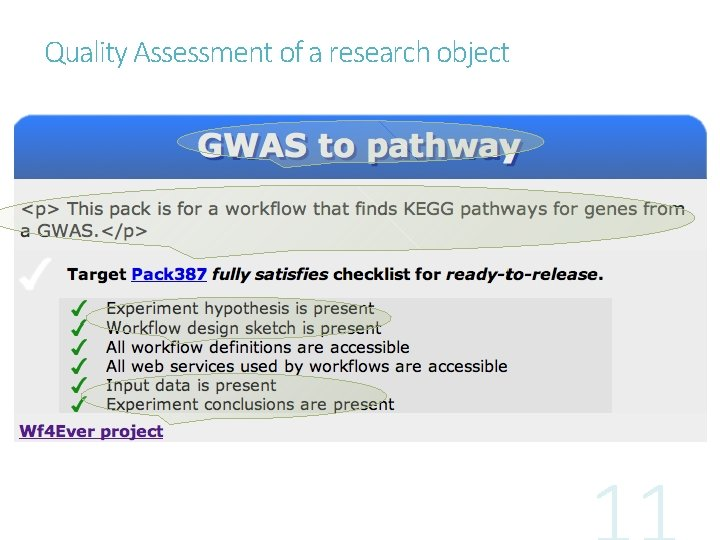 Quality Assessment of a research object