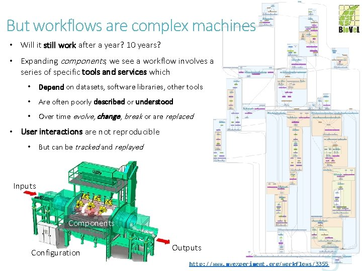 But workflows are complex machines • Will it still work after a year? 10