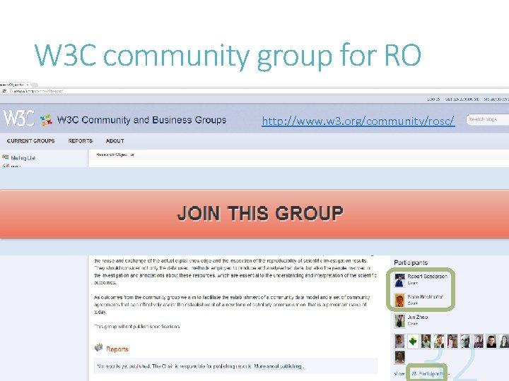 W 3 C community group for RO http: //www. w 3. org/community/rosc/