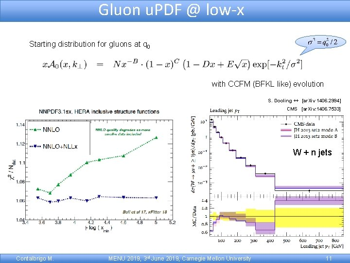 Gluon u. PDF @ low-x Starting distribution for gluons at q 0 with CCFM