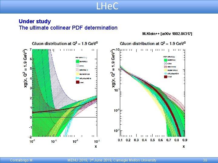 LHe. C Under study The ultimate collinear PDF determination M. Klein++ [ar. Xiv 1802.