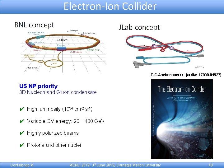 Electron-Ion Collider E. C. Aschenauer++ [ar. Xiv: 17008. 01527] US NP priority 3 D