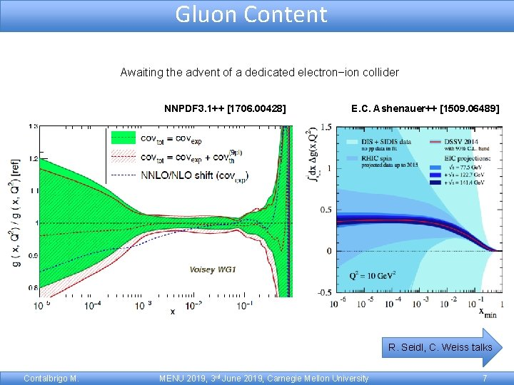 Gluon Content Awaiting the advent of a dedicated electron–ion collider NNPDF 3. 1++ [1706.