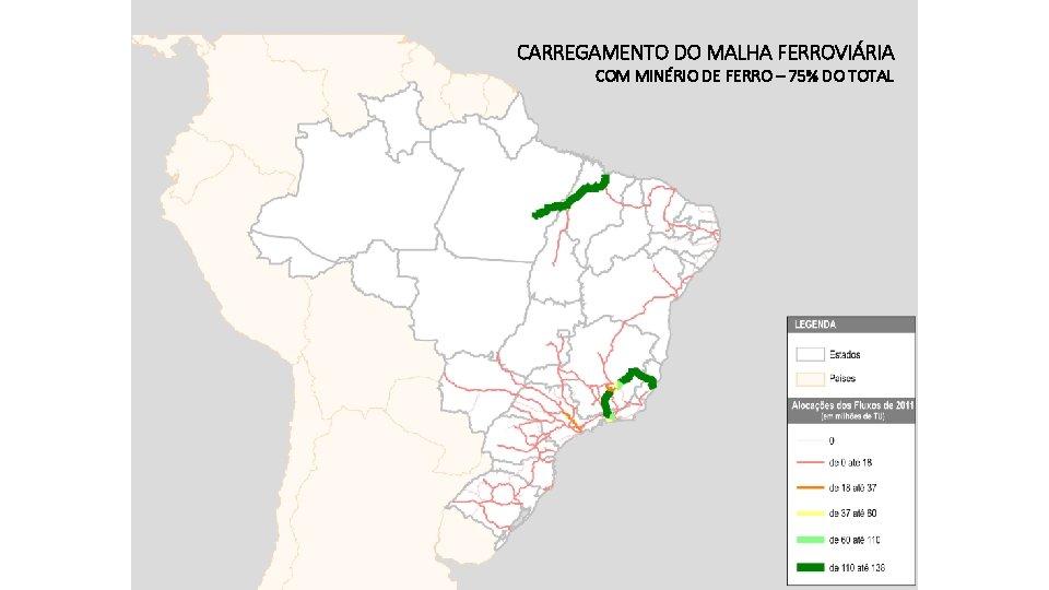 CARREGAMENTO DO MALHA FERROVIÁRIA COM MINÉRIO DE FERRO – 75% DO TOTAL