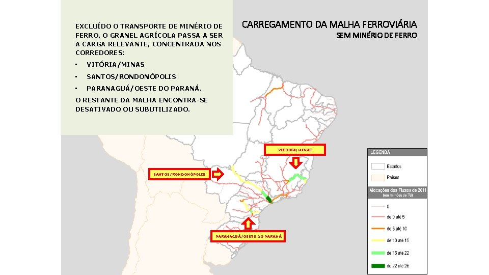 EXCLUÍDO O TRANSPORTE DE MINÉRIO DE FERRO, O GRANEL AGRÍCOLA PASSA A SER A