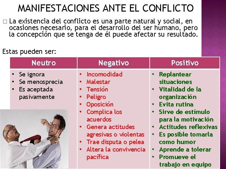 MANIFESTACIONES ANTE EL CONFLICTO � La existencia del conflicto es una parte natural y