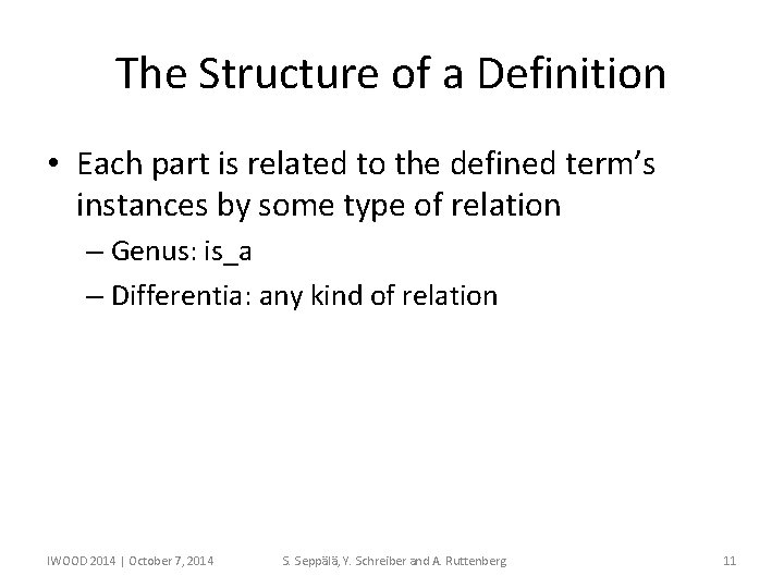 The Structure of a Definition • Each part is related to the defined term's