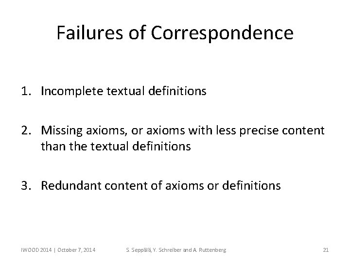 Failures of Correspondence 1. Incomplete textual definitions 2. Missing axioms, or axioms with less