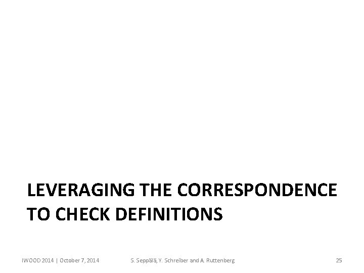 LEVERAGING THE CORRESPONDENCE TO CHECK DEFINITIONS IWOOD 2014 | October 7, 2014 S. Seppälä,