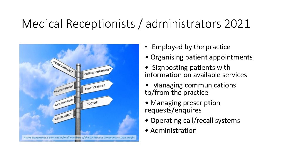 Medical Receptionists / administrators 2021 • Employed by the practice • Organising patient appointments