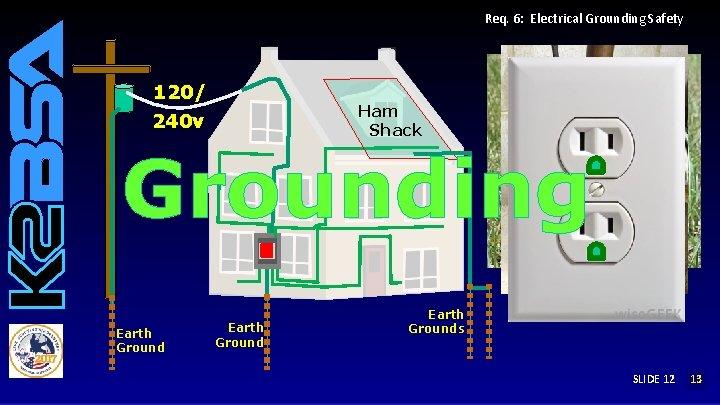 Req. 6: Electrical Grounding Safety 120/ 240 v Ham Shack Grounding Earth Grounds SLIDE