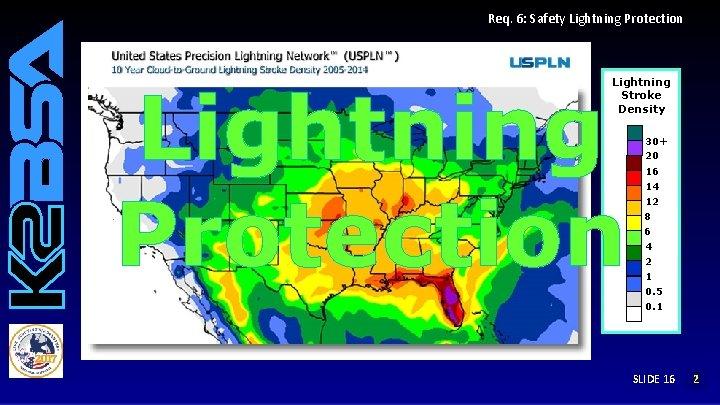Req. 6: Safety Lightning Protection Lightning Stroke Density 30+ 20 16 14 12 8