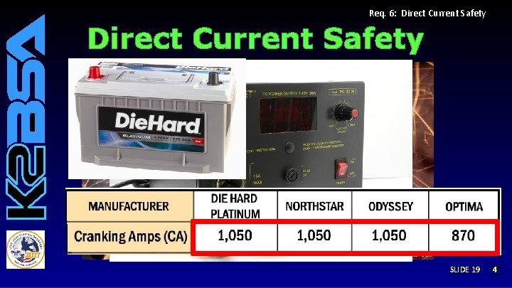 Req. 6: Direct Current Safety SLIDE 19 14 3 2
