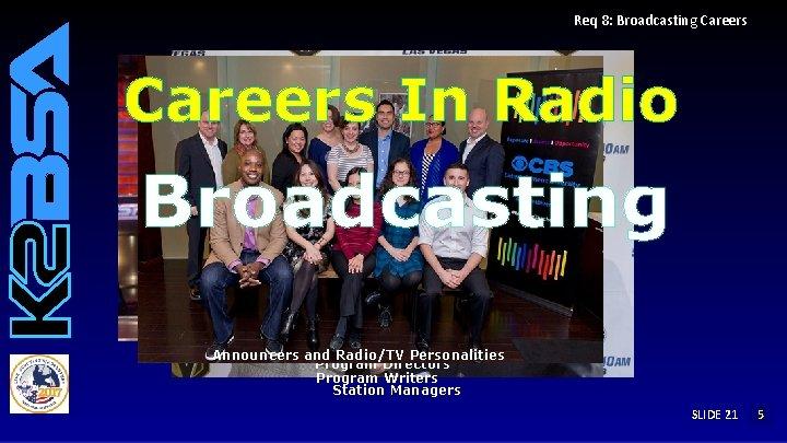 Req 8: Broadcasting Careers In Radio Broadcasting Announcers and Radio/TV Personalities Program Directors Program