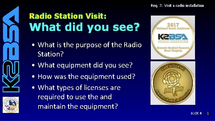 Req. 7: Visit a radio installation Radio Station Visit: What did you see? •