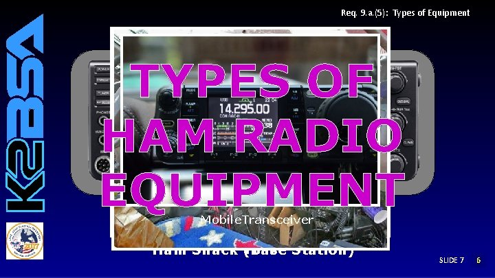 Req. 9. a. (5): Types of Equipment TYPES OF HAM RADIO EQUIPMENT Base Station