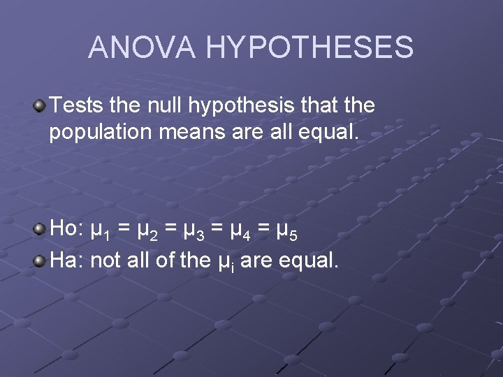 ANOVA HYPOTHESES Tests the null hypothesis that the population means are all equal. Ho: