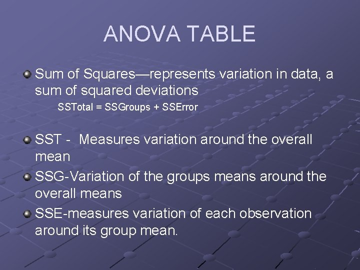 ANOVA TABLE Sum of Squares—represents variation in data, a sum of squared deviations SSTotal