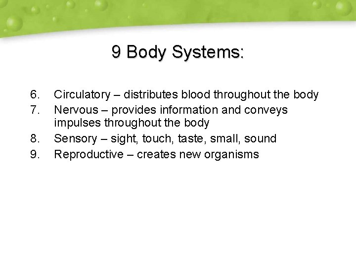 9 Body Systems: 6. 7. 8. 9. Circulatory – distributes blood throughout the body