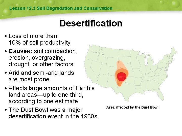 Lesson 12. 2 Soil Degradation and Conservation Desertification • Loss of more than 10%