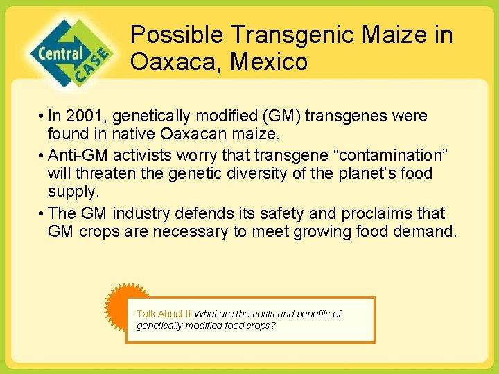 Possible Transgenic Maize in Oaxaca, Mexico • In 2001, genetically modified (GM) transgenes were