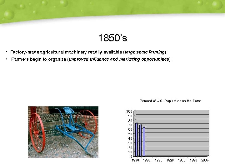 1850's • Factory-made agricultural machinery readily available (large scale farming) • Farmers begin to