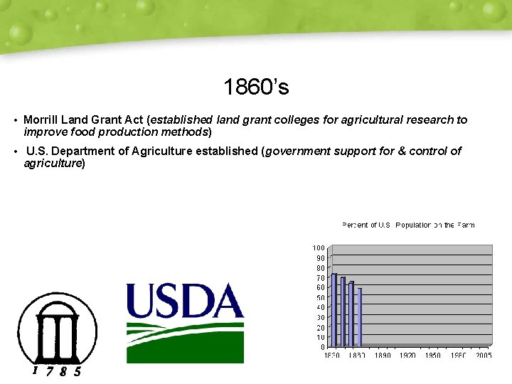 1860's • Morrill Land Grant Act (established land grant colleges for agricultural research to
