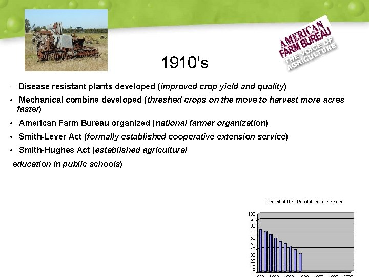 1910's • Disease resistant plants developed (improved crop yield and quality) • Mechanical combine