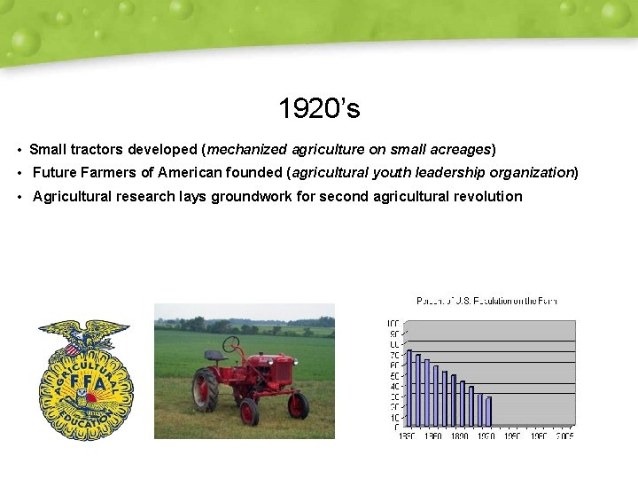 1920's • Small tractors developed (mechanized agriculture on small acreages) • Future Farmers of