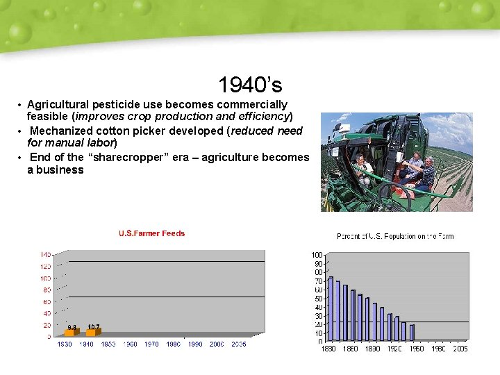 1940's • Agricultural pesticide use becomes commercially feasible (improves crop production and efficiency) •